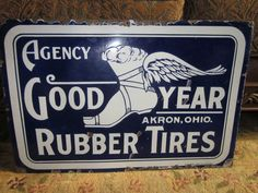 Very Rare Original Goodyear Rubber Tires Porcelain Sign