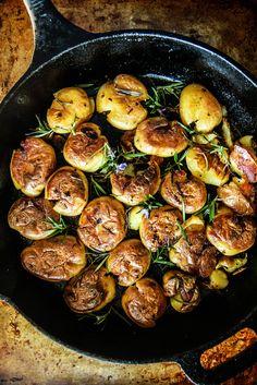 Pan Fried Crispy Smashed Rosemary Bacon Garlic Potatoes from HeatherChristo.com