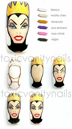 Nail Art Designs Images, Simple Nail Designs, Edgy Nails, Get Nails, Disney Inspired Nails, Mickey Nails, Nail Drawing, Nail Art Videos, Nail Tutorials