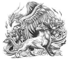 Mystical Phoenix and Wolf (Upper Arm Half Sleeve)   Cris Luspo Tattoo Designs