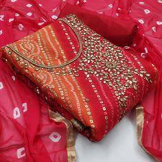 Rate: Rs 650 + Shipping extra Exclusive Dress Material Suit For Women Top Fabrics:- KOTA CHECKS BANDANI PRINT Bottom Fabrics:- SANTOON Inner fabrics:- SANTOON Dupatta: NAJMEEN BANDAJ Work Type: HAND WORK Size: Free Size upto (Semi-Stitched)