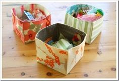 Fabric totes and baskets are great for storage! You can make a Fabric Storage Bin in any color or print you like. They have no sharp edges, so they are safe and practical for baby's rooms and children's rooms.