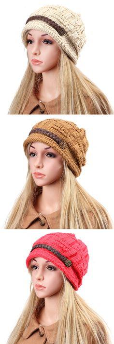 $7.00 Eight  Wool Knit Crochet Buttons Strap Cap Decorative Braids Baggy Beanie Hat