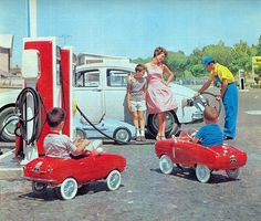 Pedal cars | A bit before my time but kids did seem to have pedal cars when I was young. Those ones look pretty awesome.