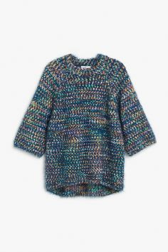 Monki Image 1 of Fuzzy sweater  in Blue Reddish Dark