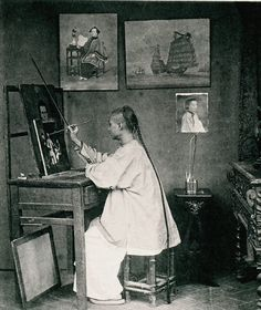 Lam Qua, one of the most famous Chinese artists resident in Hong Kong in the 1870s. Taken by John Thomson around 1872 it shows Lam Qua working on a Chinese group portrait in a style that was copied by many lesser known artists of the day.