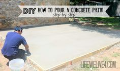 DIY How to pour your own concrete patio , step by step. Back porch How to DIY How to pour your own concrete patio , step by step. Back porch How to Poured Concrete Patio, Cement Patio, Concrete Steps, Diy Concrete Slab, Concrete Floors, Concrete Patios, Pouring Concrete Slab, Concrete Porch, Patio Steps