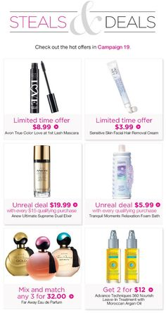 Campaign 19 Limited time offers Unreal Deals and Online Exclusives. Facial Hair Removal Cream, Avon True, Avon Representative, True Colors, Sensitive Skin, Bath And Body, Mascara, Lashes, Fragrance