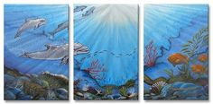 Dolphin Bay Metal Wall Art By Jerome Stumphauzer.  Explore beneath the sea with this impressive ocean wall art to your home decor. This three panel wall sculpture by artist Jerome Stumphauzer will attract you and your guests!