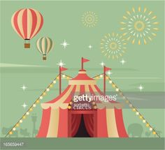 Circus tent with animal silhouette at the background. Zip contains AI and PDF formats.