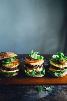 Vegan Black Rice Burgers with Grilled Pineapple & Cashew Chili Mayo | Cashew Kitchen