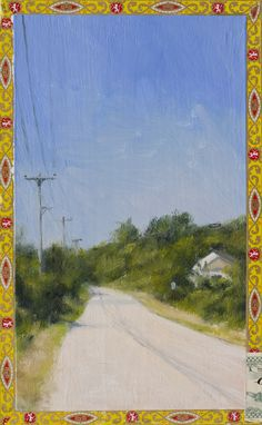 Montauk Road  Oil on cigar box  10 x 7
