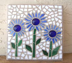 Mosaic Wall Art Mosaic Flowers Boho Decor Small Wall Art Stained Glass Mosaic Art Decorative Wall Decor Blue Home Decor Mosaic Wall Hanging Mosaic Garden Art, Mosaic Tile Art, Mosaic Flower Pots, Mosaic Glass, Stained Glass, Glass Art, Mosaic Mirrors, Fused Glass, Mosaic Art Projects