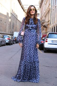 Long, floral dresses were trending at #MFW, and have been very popular with the Fashion Week elite. Here, Eleonora Carisi is spotted wearing a stunning long-sleeved maxi that is perfectly on-trend for the upcoming season.