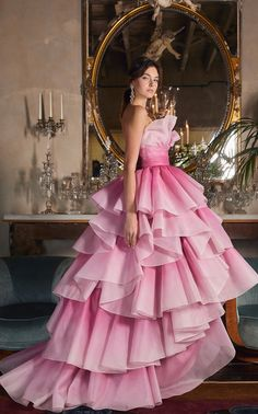 Tiered-Ruffle Strapless Tulle Gown by MARCHESA for Preorder on Moda Operandi