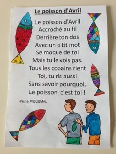 le poisson d'avril | Poésie: Le poisson d'Avril French Articles, French Resources, French Poems, French Quotes, Teaching French, Learning The Alphabet, Kids Learning, French Worksheets, Writing