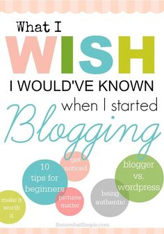 What I Wish I Knew When I Started Blogging http://www.somewhatsimple.com/blogging-tips/ via Steph-SomewhatSimple