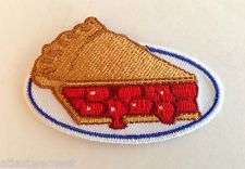 Cherry Pie Oval Patch Iron On Applique Badge Retro Diner Foodie Waitress Kitsch