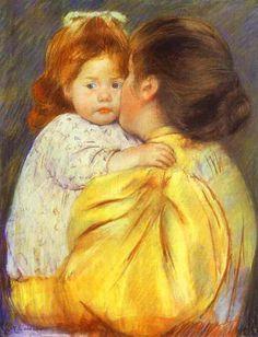 """1896 ~ """"Maternal Kiss"""",  Pastel & Paper by Mary Cassatt, aka Mary Stevenson Cassatt (1844-1926), American Painter & Printmaker in the Impressionist Style .... now in the Philadelphia Museum of Art ...."""