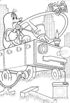 Omalovánky Krtek a autíčko k vytisknutí zdarma Coloring Sheets, Coloring Pages, Quiet Book Templates, Mole, Origami, Kindergarten, Crafts For Kids, Mandala, Painting
