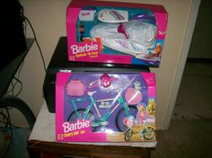Barbie Splash 'n Fun Jet Ski and Country Ride Bike by Mattel, 1997 and 1998 (I bought these on E-Bay.)