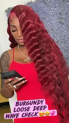 Hair Ponytail Styles, Curly Hair Styles, Natural Hair Styles, Baddie Hairstyles, Red Weave Hairstyles, Black Girls Hairstyles, Ebony Hair, Crimped Hair, Birthday Hair