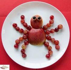 Sugar free snacks for kids apple spider kids lunch box ideas Cute Snacks, Fruit Snacks, Healthy Snacks For Kids, Cute Food, Good Food, Funny Food, Snacks Kids, Healthy Meals, Healthy Recipes