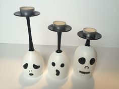 Set Of Hand Painted Ghost Wine Glass Candle Holders