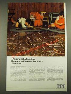 1967 ITT Bell & Gossett Hydro-Flo Heating Ad - Warm on the Floor-This is a 1967 ad for a ITT Bell & Gossett Hydro-Flo Heating! The size of the ad is a 1960s Interior Design, Vintage Ads, Chill, Conditioner, Flooring, Warm, Retro, Wood Flooring, Rustic