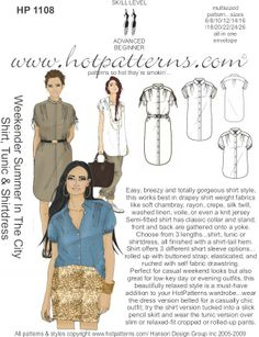 HotPatterns.com - HP 1108 Weekender Summer in The City Shirt, Tunic