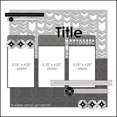 Three photo LO sketch. #scrapbooking #scrapbook #templates #sketches