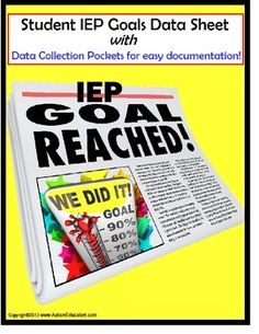 Special Education IEP Goal Data Sheets for Teachers & Students: NOW FULLY EDITABLE! Just use the Typewriter Tool when Adobe opens and begin!  If you need help, please let me know and I will help you.  You may also print these and fill the data in by hand (my preferred method for a busy autism classroom!).Tracking IEP Goal data has never been easier or more convenient.