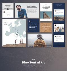 Blue Tent ui kit   Travel blog UI components on Behance