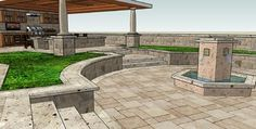 AMS - Assorted 3D Renderings - early review of the Solid Roof Cook Center - rustic - Drawings - Orange County - AMS Landscape Design Studios...