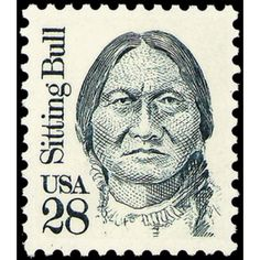 US Sitting Bull Postage Stamp ~ June Lt. George A. Custer and his Cavalry were defeated by Sioux and Cheyenne Indians in the Battle of Little Big Horn in Montana. Old Stamps, Vintage Stamps, Native American History, American Indians, Commemorative Stamps, Postage Stamp Art, Going Postal, Stamp Collecting, My Stamp