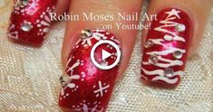 Red Glitter with White Snowflake nails with Christmas Trees Nail Art Design – Toptrendpin Xmas Nail Art, Snowflake Nail Art, Holiday Nail Art, Xmas Nails, Nail Art Diy, White Snowflake, Red Glitter, Glitter Gradient Nails, Glitter Nail Art