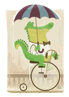 Alligator Riding a Bicycle Art Print by Josh Cleland | Society6