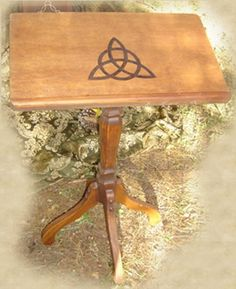 Book of Shadows, Grimoires, Occult Books, Witchcraft Spells - Triquetra Book Holder Stand Book Holder Stand, Book Holders, Book Stands, Wooden Book Stand, Wooden Books, Wiccan Home, Witchcraft Supplies, Witchcraft Spells, Magic Spells