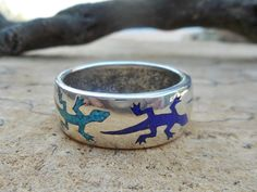 Southwestern  Gecko Turquoise and Lapis chip inlay by LanciaArts