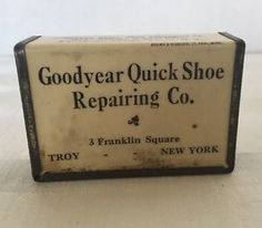 Troy-Quick-Shoe-Repairing-Co-Goodyear-Matchbox-Vintage-New-York-Franklin-Sq