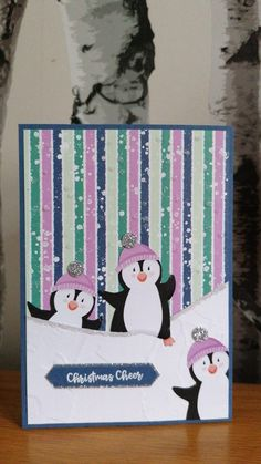 Homemade Christmas Cards, Stampin Up Christmas, Handmade Christmas, 21 Cards, Xmas Cards, Holiday Cards, Scrapbook Page Layouts, Scrapbooking, Penguin Party