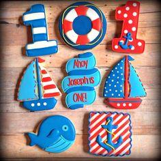 Birthday Cake Cookies, First Birthday Cakes, Cupcake Cookies, Birthday Ideas, Cupcakes, Baby Boy Cookies, Baby Shower Cookies, Cute Cookies, Nautical Cake