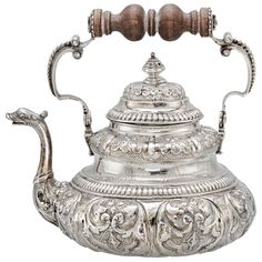 Silver teapot with dolphin spout, Netherlands c. 1730