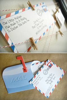 """""""first class"""" post office inspired birthday party"""