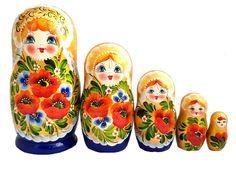 Matriochka Traditionnelle 5 pièces - Coquelicots