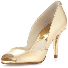 MICHAEL Michael Kors Natalie Metallic Open-Toe Pump ($110) ❤ liked on Polyvore featuring shoes, pumps, pale gold, patent leather pumps, open-toe pumps, open toe shoes, open toe high heel shoes and shiny shoes