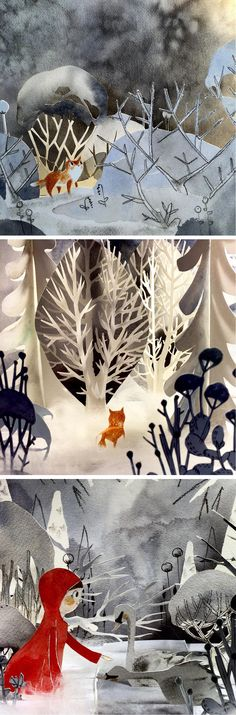 Cut paper diorama by Kelly Pousette // paper art // paper craft // storybook illustration // shadowbox illustration