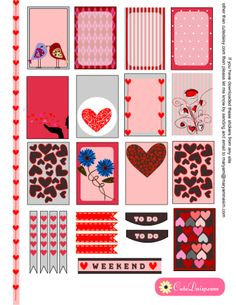 FREE Valentine's Day Planner Stickers for Happy Planner and Erin Condren Life Planner by Cutedaisy