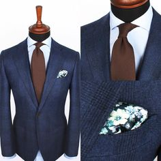 The new Brown silk & wool tie and Teal flower pocket square over the Light blue poplin cutaway shirt www.Grandfrank.com