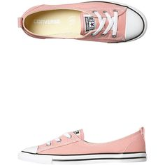 Converse Chuck Taylor All Star Seasonal Ballet Shoe ($53) ❤ liked on Polyvore featuring shoes, sneakers, footwear, pink, womens footwear, pink sneakers, star sneakers, ballet shoes, lace up shoes and converse sneakers